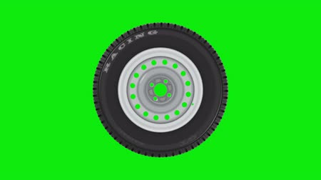 especial : Abstract wheel rotation on green background, 3d render. 4K seamless loop Video