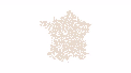 states : France Dotted Map Networking Orange Dot Motion Graphic 4K. The appearance and disappearance of the map of abstract france Stock Footage