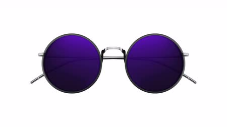 tüketici : Glamorous sunglasses in retro style with rapidly changing color lenses  glasses Stok Video