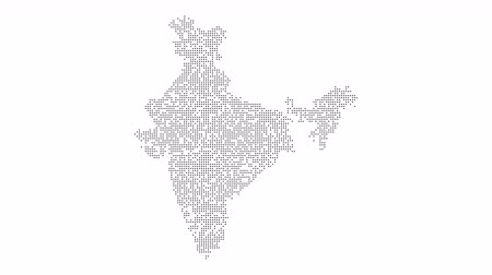 states : India Dotted Map Networking Orange Dot Motion Graphic 4K. The appearance and disappearance of the map of abstract India