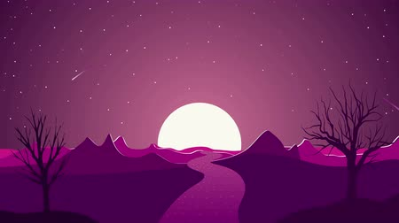 рекламный : Animation illustrations in material design style. Canyon, mountains, trees, sunset, comet, stars. 4K motion design video Стоковые видеозаписи