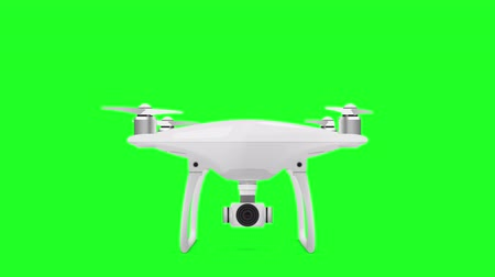 робот : Drone Quadcopter on green screen. Animated quadrocopter. You can find this image in my portfolio. Стоковые видеозаписи