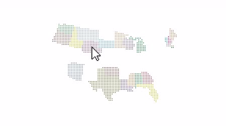 américa do norte : USA color map, running cursor that includes each state collecting America map