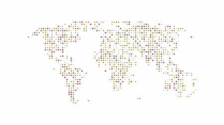 западный : Dotted abstract world map. Dotted world map animation. Multicolor and different point sizes. Seamless and looped. 4K video. Стоковые видеозаписи