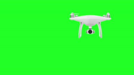 робот : Drone Quadcopter on green screen. 4K Animated quadcopter.