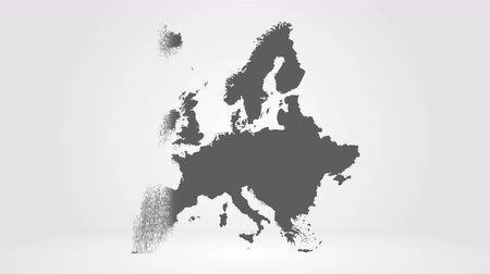 continentes : Map of Europe. 2d Rendering, gray European map, unstuck in the sand, and created from the particles. Abstract concept. 4K video animation Stock Footage