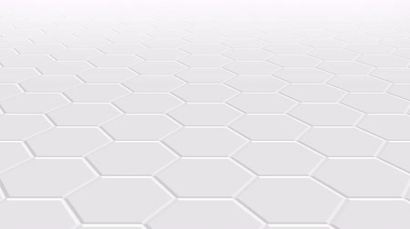 digital code : An animation of the movement of the light surface leading into the distance and approaching, white, light gray hexagonal paving slabs. Perspective background. 4K video.
