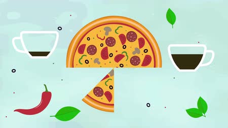 Hands taking pizza slices, cups of tea. Top view of baking a pizza. 2d Animation. Flat material design. Dinner, breakfast, lunch. Promotional video for pizzeria, cafe, restaurant. 4K movie clip