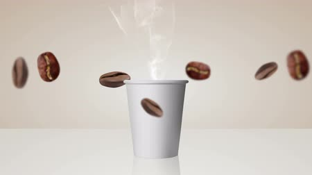 Cup of coffee, falling coffee beans, steam. Footage, movie, animation, clip 4K movector video