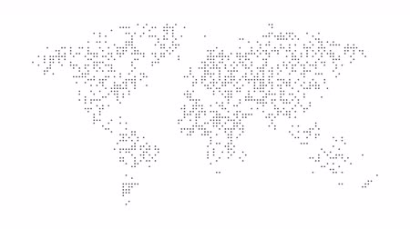 metrópole : Dotted abstract world map. Dotted world map animation. 4K video.