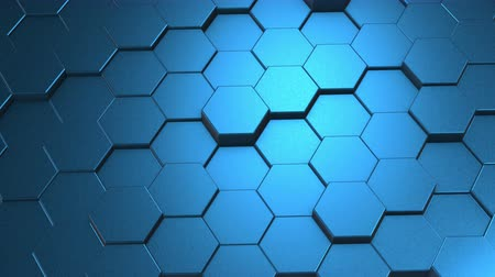 przyszłość : Abstract hexagon geometric surface loop 3D light bright clean rounded beveled hexagonal grid pattern, waving motion background canvas in pure wall architectural blue. Seamless looping video animation 4K FullHD.