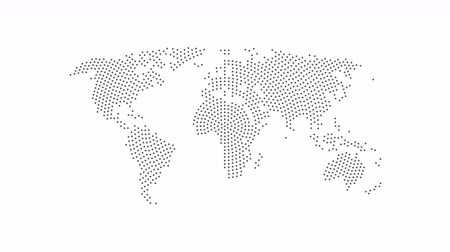 западный : Dotted abstract world map. Dotted world map animation. 4K video.