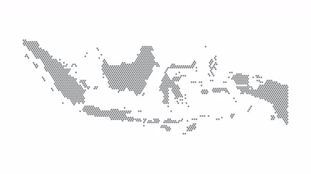 Indonesië gestippelde kaartnetwerken Dot Motion Graphic 4K