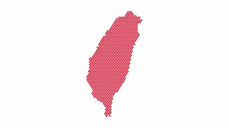 estados : Taiwan Dotted Map Networking Dot Motion Graphic 4K. National corporate red color of the country Vídeos