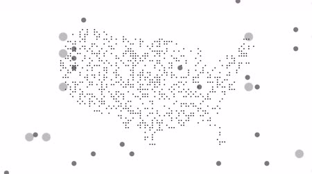 estados : USA Dotted Map Networking Dot Motion Graphic 4K. The appearance and disappearance of the map of abstract USA. Vídeos