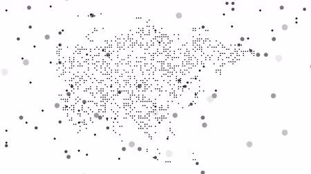 estados : Asia Dotted Map Networking Particle Pixel Motion Graphic 4K. Asia abstract map is assembled from falling dots