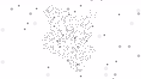 šedé pozadí : Kenya Dotted Map Networking Particle Pixel Motion Graphic 4K. Kenya abstract map is assembled from falling dots