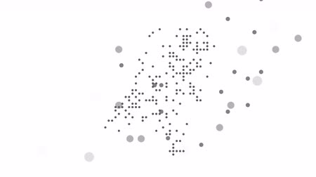 cartografia : Map dotted polka dot pixel particle Holland, the dots falling style. 4K video animation. As soon as possible will be able the other countries