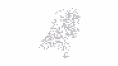 cartografia : Map dotted polka dot pixel particle Holland, the dots style. 4K video animation. As soon as possible will be able the other countries