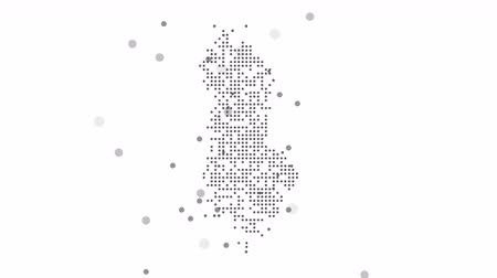 cartografia : Map dotted polka dot pixel particle Albania, the dots falling style. 4K video animation. As soon as possible will be able the other countries