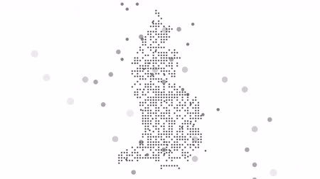 cartografia : Map dotted polka dot pixel particle liechtenstein, the dots falling style. 4K video animation. As soon as possible will be able the other countries