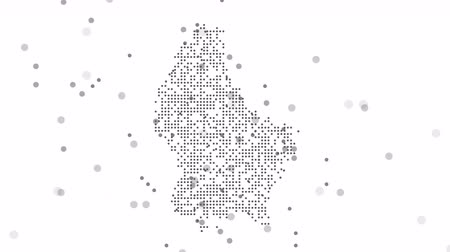 cartografia : Map dotted polka dot pixel particle Luxembourg, the dots falling style. 4K video animation. As soon as possible will be able the other countries