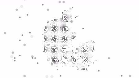 cartografia : Map dotted polka dot pixel particle Denmark, the dots falling style. 4K video animation. As soon as possible will be able the other countries