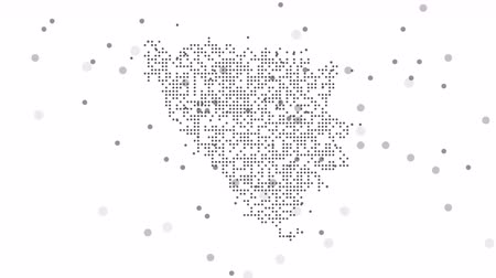 cartografia : Map dotted polka dot pixel particle Bosnia & Herzegovina, the dots falling style. 4K video animation. As soon as possible will be able the other countries