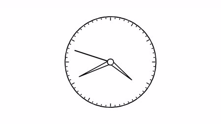 clock hands : 4K Doodle Clock Animation in 12 Hour Loop Seamless looping Stock Footage