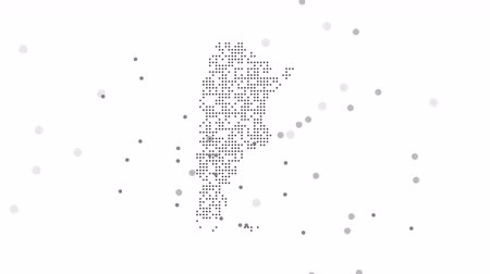 западный : Argentina Dotted Map Networking Dot Motion Graphic 4K. The appearance and disappearance of the map of abstract Argentina. Стоковые видеозаписи