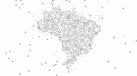 brezilya : Brazil Dotted Map Networking Dot Motion Graphic 4K. The appearance and disappearance of the map of abstract Brazil. Stok Video