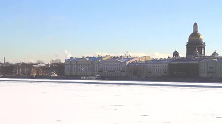 Copter taking off, St Isaacs Cathedral, Neva river at winter. St. Petersburg, Russia