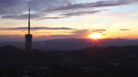 Magnificent Sunset at Tibidabo mountain in Barcelona, ??spain hd video