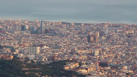 Aerial view of the Barcelona, ??Spain at sunset hd video
