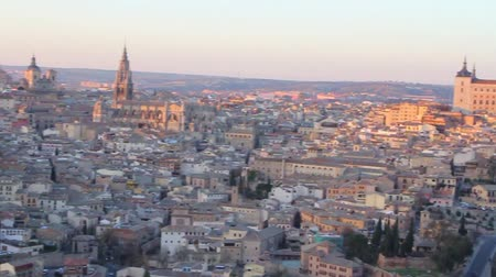 panoramic view of medieval city of Toledo, Spain hd video