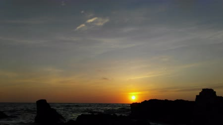 Timelapse sunset at sea side. Natural video