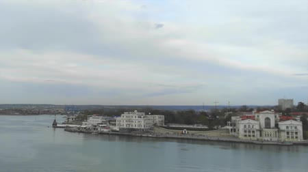 Timelapse of Sevastopol bay with sea transport view from above at sunset. Crimea Wideo