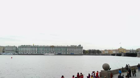 Time lapse of Neva river at may, spring. St. Petersburg, Russia
