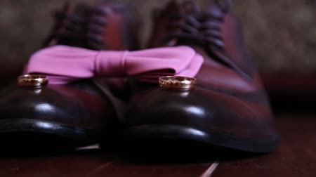 rape oil : The bridegroom is dressing for wedding. Accessories for the bride, jacket, shoes, cufflinks. A groomed young man dressed up. Stock Footage