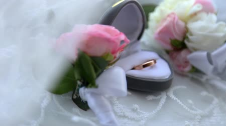 dois objetos : Two gold rings in a box for rings at the wedding Stock Footage