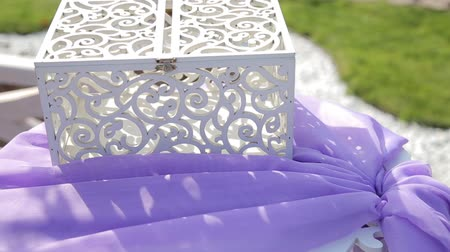 beautiful handmade box for wedding money closeup