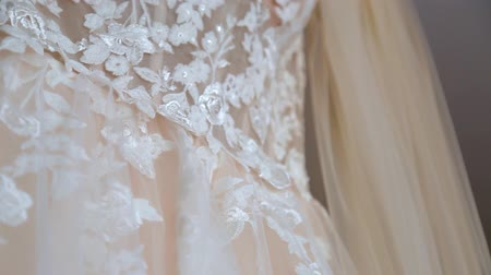 wedding dresses in bridal salon Stok Video