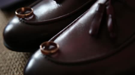 grooms accessories at the wedding day.cherry mens shoes Stok Video
