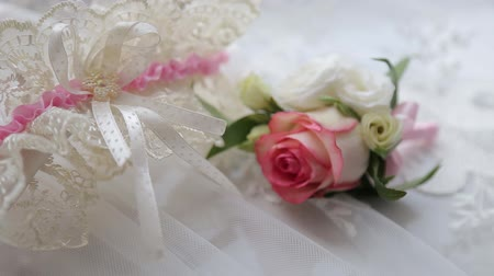 новобрачный : Weddings boutonniere and accessories groom and bride Стоковые видеозаписи