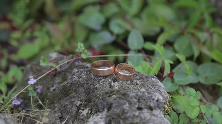 wedding and gold : Gold ring lie on the stone surface in sunny day Stock Footage