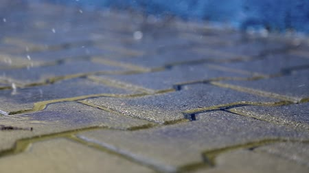 valoun : Wet sidewalk in the rain. rain drops fall on the pavement Dostupné videozáznamy