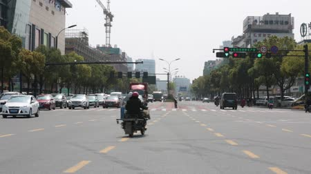 stoplight : Traffic light. urban traffic light changes from green to red. JULY 2018 Yiwu, China.