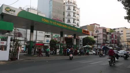 SAIGON - JULY 25: Road Traffic on July 25, 2018 in Saigon (Ho Chi Minh City), Vietnam Stok Video