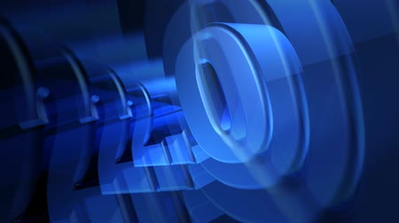 strojopis : 2.0 3D Blue Text spinning with effects, HD 1080 Loop.-