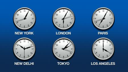 čas : Super sharp 3D render of 6 wall clocks ticking with various international time zones, New York, London, Paris, New Delhi, Tokyo and Los Angeles. Timing of each clock set. Clocks ticking fast. HD 1080.-